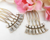 Two Gold Art Deco Hair Combs, Set of 2, 1920s Hair Accessories, Vintage Style Bridal Hair Comb, Pair of Crystal Hair Pins, Gatsby Weddings