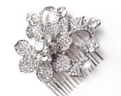 Comb Crystal Flower Hair Comb Floral Rhinestone Bridal Comb Vintage Style Hair Piece Silver Rhinestone Brooch Comb