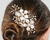 Gold Floral Crystal Hair Clip,Bridal Hair Piece,Crystal Wedding Hair Clip, Crystal Hair Comb,Bridal Headpiece,TS81