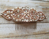 Wedding Hair Comb Rhinestone with Rose Gold Details Style H17060