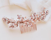 Rose Gold Crystal Bridal Comb, Bridal Headpiece, Wedding Hair Piece, Crystal Bridal Accessory, Wedding Accessory, Swarovski TC7095