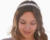 Large Rhinestone Headband Boho Wedding Headpiece Simple Crystal Hair Band Beaded Tiara Mother of the Bride Hair Accessory
