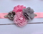 Pink and Gray Flower Girl Sash and headband set Pink silver Rhinestone Crystal Flower Girl Sash Belt Wedding Sash flower girl Bridal Sash