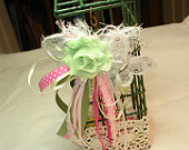 Upcycled Wire Basket Hand decorated Pink and Green Shabby Love Trims of fabric, ribbons and lace and butterfly Decorated display box