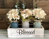 Centerpiece For Dining Table Rustic Home Decor Floral Centerpiece Mason Jar Decor Floral Arrangement Bedroom decor