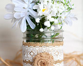 Burlap Lace Rustic Mason Jar Country Chic Wedding Home Decoration