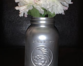 Metallic Mason Jar Decor, Centerpiece, Weddings, Vase, Home and Office