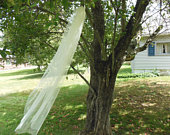 Fingertip English Net Wedding Veil Custom 1 Tier Cut Edge