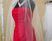 Two tier fingertip wedding veil, veil with blusher, two layer veil