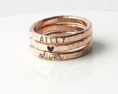 Personalized Ring Mom Jewelry Rose gold filled Skinny Rings Personalized Hand Stamped Jewelry Skinny Custom Rings cursive ring