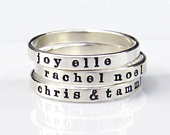 Personalized Ring, Custom Name Ring, Mom Ring, Ring with Names, Sterling Silver Stacking Ring