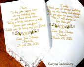 Embroidered Wedding Handkerchief, Wedding Gifts for Mom and Dad Hankys with Wedding Rings Design Wedding Handkerchief, Gift for Parents