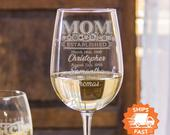 Mom Wine Glass Mom Established Wine Glass is the Best Mothers Day Gift, Custom White Wine Glasses, Mothers Day from Husband