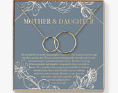 Mother Daughter Gift Necklace, Mothers Day Gift, Gifts for Mom, Mom Necklace, 2 Interlocking Circles