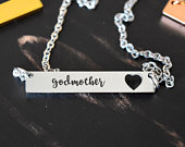 God Mother With BackSide Initial Necklace MOTHERS DAY Gift, Mom Necklace Horizontal, Mothers Day Jewelry,Mom Gift, Godmom Gift, godmother
