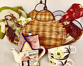 Gift Picnic Basket or Tea Set Mothers Day Cafe Tablecloth Vintage Tea Cups Linen Napkins Item T0136