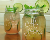Mr Mrs Mason Jar Glasses / Personalized Wedding Glasses / Engraved Glasses / Etched Gift / Rustic Wedding / Set of 2 Add Your Date or Name