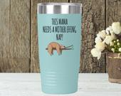 Gift For New Mom Funny, Personalized Travel Tumbler Mug With Handle For Busy Tired Mother, Fun Sloth Mug To Go, Stainless Steel Coffee Cup