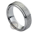 Ladies 7mm Celtic Knot Design Laser Engraved Wedding Band, Brushed Center Stepped Edge Comfort Fit Tungsten Carbide Ring TS1452