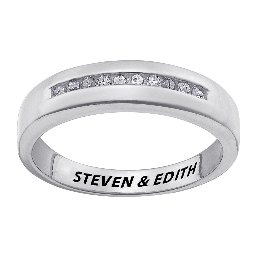Sterling Silver Diamond Engraved Wedding Band