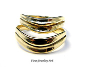 His Hers Wedding Band Ring Set Matching 14k Gold Unique Wave Handmade Flowing Fine Jewelry Curved Ring Design Nature Inspired Art by EVB