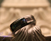 Matching Set Tungsten Carbide Wedding Bands Ring for men and women, Custom Engraving Ring, His and Hers promise rings Shell material Inlay