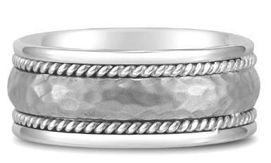 Platinum Domed Hammered Wedding Band