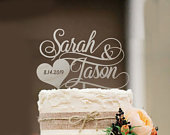 Rustic Wedding Cake Topper, Bride and Groom Wedding Cake Topper, Personalized Wedding Cake Topper, Custom Cake Topper