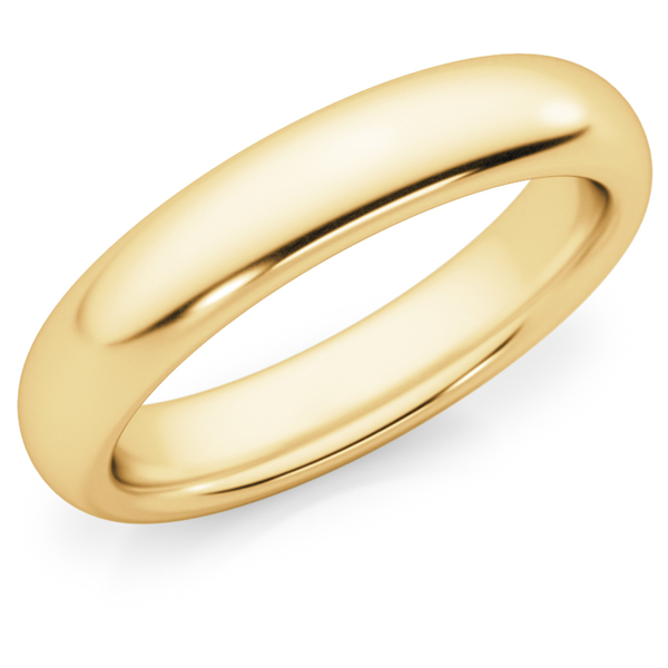 4mm Comfort Fit Wedding Band Ring, 14K Gold