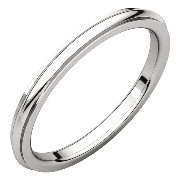 2mm 14K White Gold Plain Comfort-Fit Wedding Band Ring with Edge