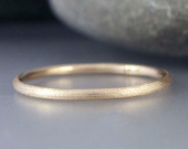 Textured 14k Gold Skinny Stacking Ring Solid 14k Yellow Gold 1.3mm Wedding Band