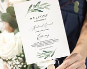 Greenery Program Fan Template, Olive Programs, Rustic Modern Wedding, Editable Text with Corjl 031