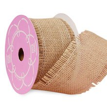Natural Fine Burlap Ribbon - 4 X 10 Yards - by Paper Mart