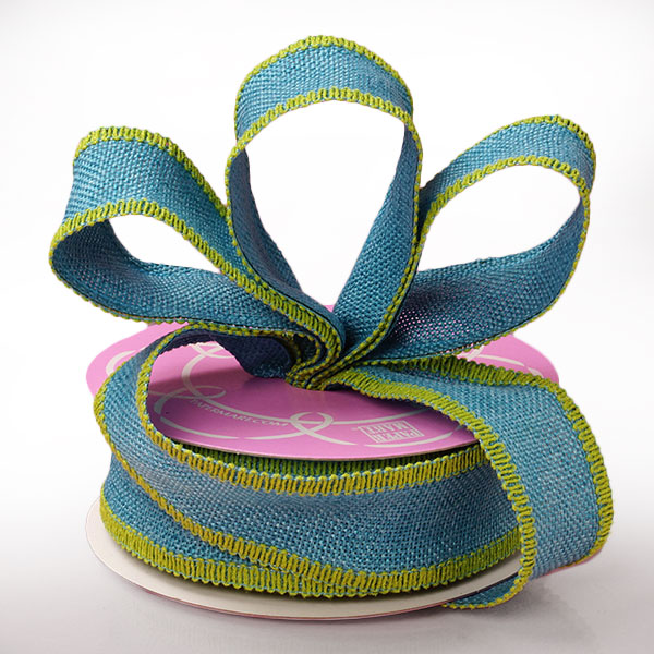 "1 1/2"" X 10 Yards Mesh Blue Side Stitch Burlap Ribbon by Ribbons.com"