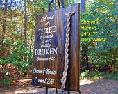 Cord Of Three Strands, Wedding Sign, Ceremony Sign, Wood Sign, Ecclesiastes, Wedding Gift, Fall Wedding, Unity Braids Wedding Dcor Sign 1A