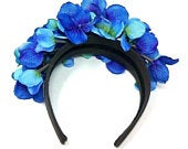 Blue and Purple Color Ukrainian Flower Headband, Ladies Boho Style Hair Accessories