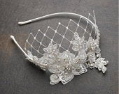 Crystal Accented Lace Wedding Headband with Netting Ivory