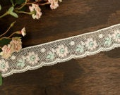 Off white lace trim, pink green flowers, headbands, childrens apparel, decorative lace, Easter trim, sewing trim, pillows, ruffle trim