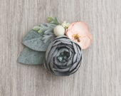 Slate Blue Peony with Peach Accent Bow newborn photography flower headband delicate bow blue peach green lace headband succulent