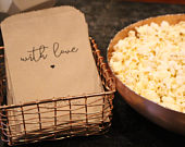 With Love Wedding Popcorn Bags, Wedding Favors, Engagement Party, Graduation Party