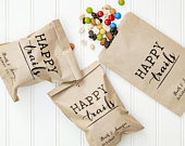 Happy Trails Personalized Wedding Favor Bags Trail Mix Bar, Rehearsal Dinner, Engagement Party