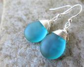 Teal blue sea glass earrings glass teardrops wire wrapped bridesmaids earrings