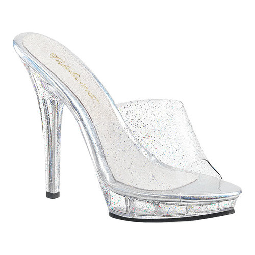 Women's Fabulicious Lip 101MMG Platform Slide, Size: 8 M, Clear PVC/Clear