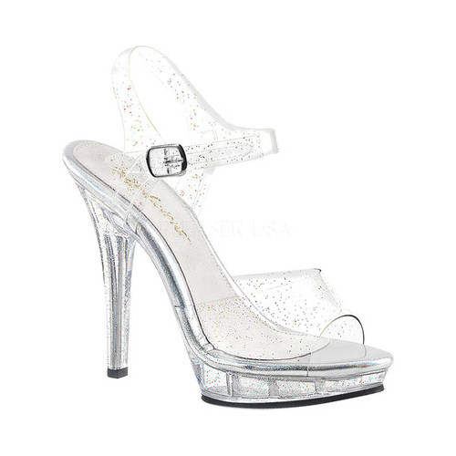 Women's Fabulicious Lip 108MMG Ankle-Strap Sandal, Size: 7 M, Clear PVC/Clear