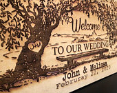 Welcome Wedding Wood Sign Engraved Tree Wedding Sign Personalized Wedding Date Sign Custom Wedding Gift Rustic Wedding Tree Sign