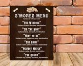 Smores Menu Gourmet Wedding Rustic Brown Wood I do BBQ Customizable Printable