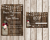 Rustic Wedding Invitation, Country Wedding Invitation, Burgundy Mason Jar, Light Strand Wood Wedding Invitaiton, Printable