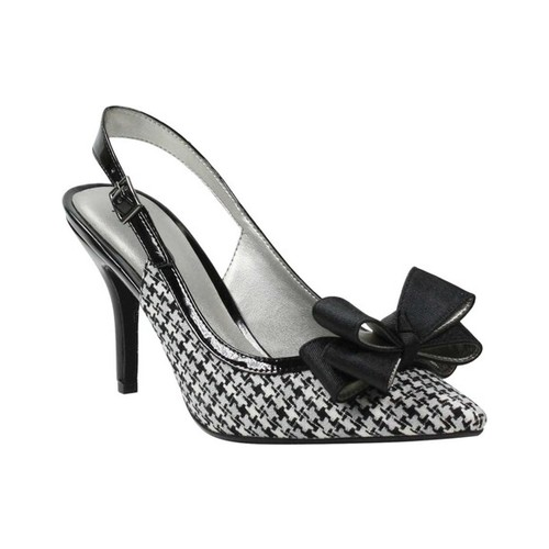 Women's J by J. RENEE Cingia Slingback Pump, Size: 10 M, Black/Gray/White Fabric
