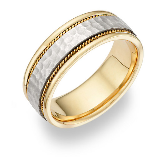 14K Gold & Silver Hammered Wedding Band Ring