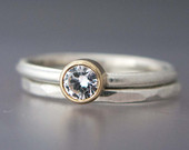 Alternative Wedding Set Engagement Ring and Wedding Band in Gold and Sterling Silver, 4mm White Sapphire or Moissanite